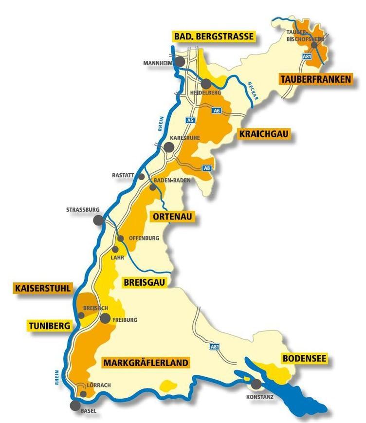 Karte die das Weinland Baden zeigt