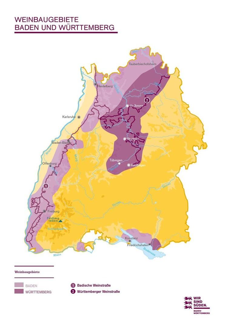 Übersichtskarte Weinbaugebiete Baden Württemberg